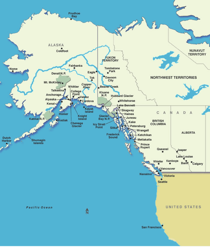 Map Of Alaska Canada And Usa Alaska Cruises: Map of Alaska and Western Canada