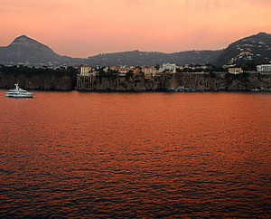 Sunset in the harbor at Sorrento