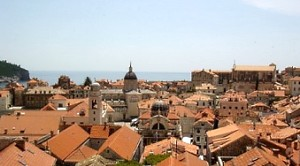 Red tile roofs of Old Town viewed from the wall.