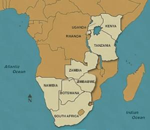 Map of Uganda and Rwanda