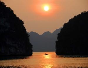 Sunset in Halong Bay